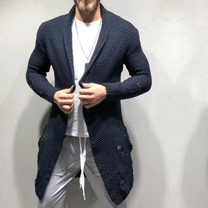 Fashion Green Fruit Collar Men's Long Cardigan Sweaters - HiSheep