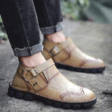 Large Size Hand Stitching Genuine Leather Non-slip Retro Ankle Boots - HiSheep