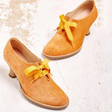 Elegant Vegetable-tanned Suede Lace Up Pumps - HiSheep
