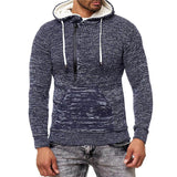 Fashion hooded drawstring solid color slim zipper pullover men's knit sweater - HiSheep