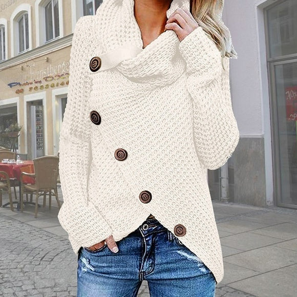 Irregular Hem Knit Turtleneck Loose Winter Sweaters - HiSheep