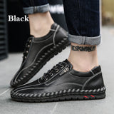Large Size Men Hand Stitching Side Zipper Casual Leather Shoes - HiSheep