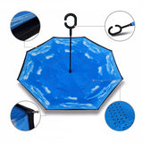 Inverted Reverse Folding Umbrella Double Layer C Handle Umbrella - HiSheep