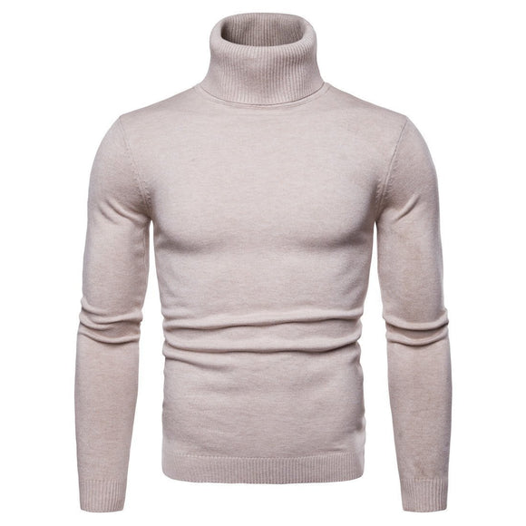 Winter Warm High Collar Men's Fashion Solid Color Knit Slim Pullover - HiSheep