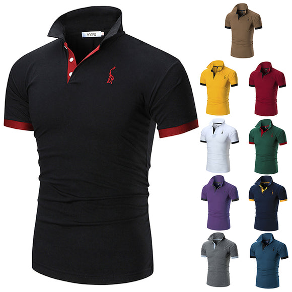 Men's Summer New Deer Embroidered Polo Shirt - HiSheep