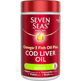 Seven Seas Omega-3 Fish Oil Plus Cod Liver Oil with Garlic 90 Capsules