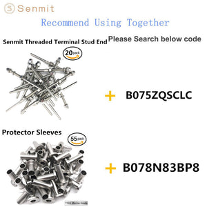 "Senmit Stainless Steel Hand-Crimp Stemball Swages for 1/8"" Cable Railing Wood Post and Metal Post T316 Marine Grade - 10 Pack - Senmit"