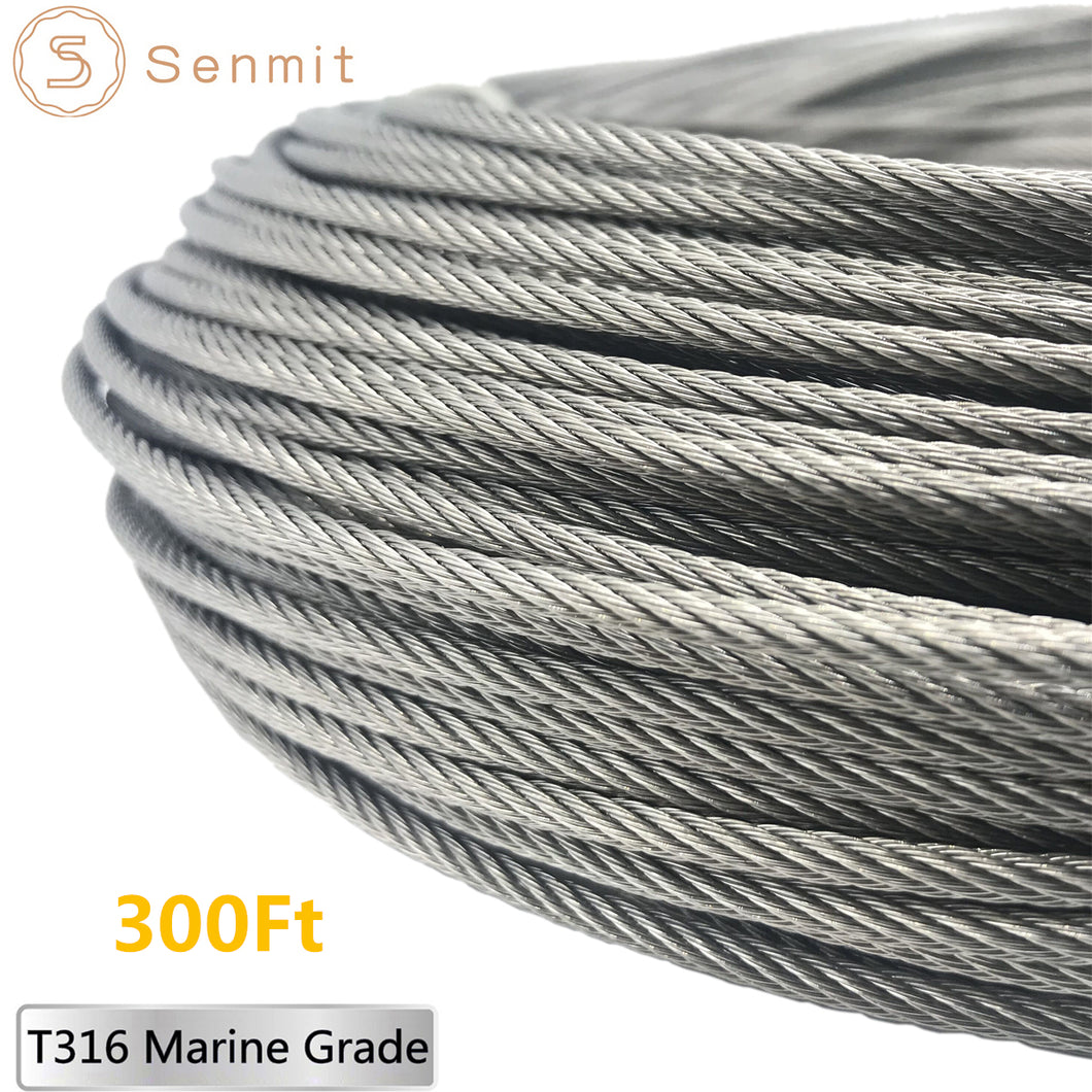 Senmit 1/8 Stainless Steel Aircraft Wire Rope for Deck Cable Railing Kit,7x7 300Feet T316 Marin Grade - Senmit