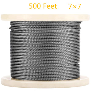 Senmit 1/8 Stainless Steel Aircraft Wire Rope for Deck Cable Railing Kit, 7 x 7 500 Feet T 316 Marine Grade - Senmit