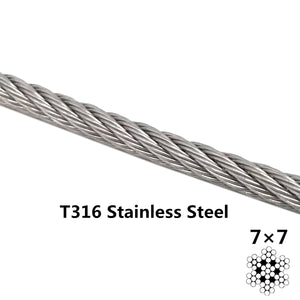 Senmit 1/8 Stainless Steel Aircraft Wire Rope for Deck Cable Railing Kit,7x7 200Feet T316 Marin Grade - Senmit