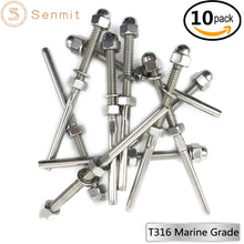 "Senmit Threaded Terminal Stud End,for 1/8"" Cable Deck Railing Hand Swage Stainless Steel T316 Marine Grade 10 Pack - Senmit"