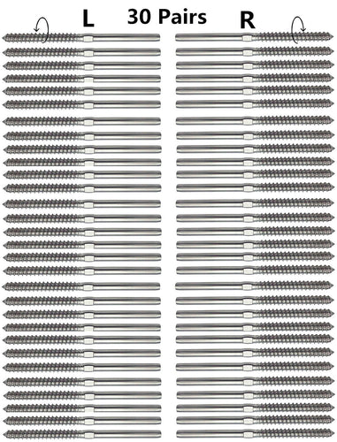 】 PP Railing Stainless Steel Right/&Left Handed Thread Swage Lag Screws for Wood Post of 1//8 Cable Railing Kit,Decking Railing Hardware,DIY Baluster Kit T316 Marine Grade 【30 Pairs 60 Pcs