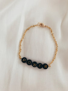 "Bracelet ""WORDS"" black & gold"