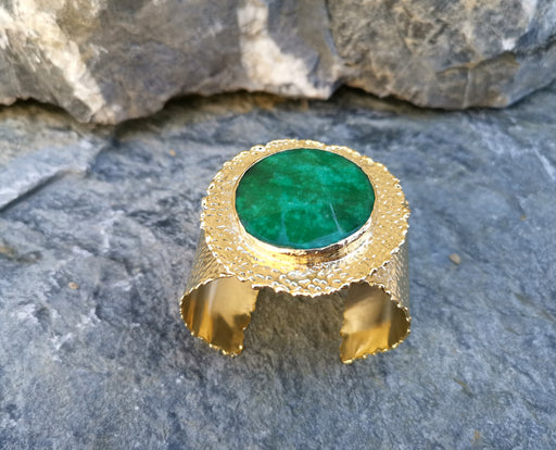 Gold Plated Brass Bracelet with Green Gemstone Adjustable SR11