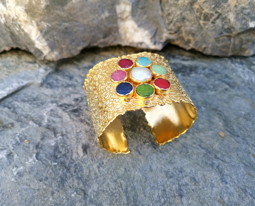 Gold Plated Brass Bracelet with Colored Gemstones Adjustable SR13