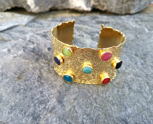 Gold Plated Brass Bracelet with Colored Gemstones Adjustable SR14
