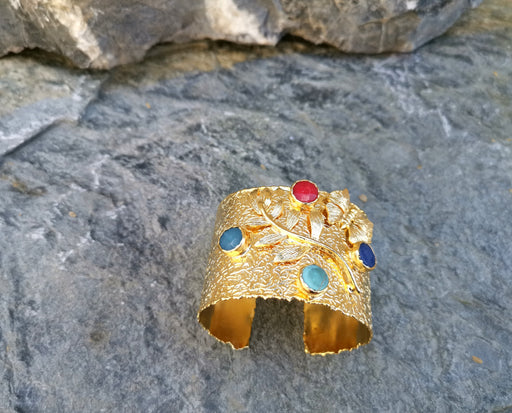 Gold Plated Brass Bracelet with Colored  Gemstones Adjustable SR18