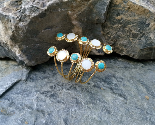 Gold Plated Brass Bracelet With Turquoise Gemstones And Real Pearls Adjustable SR20