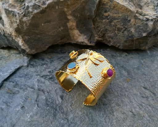Gold Plated Brass Dragonfly Bracelet with Colored Gemstones Adjustable SR21