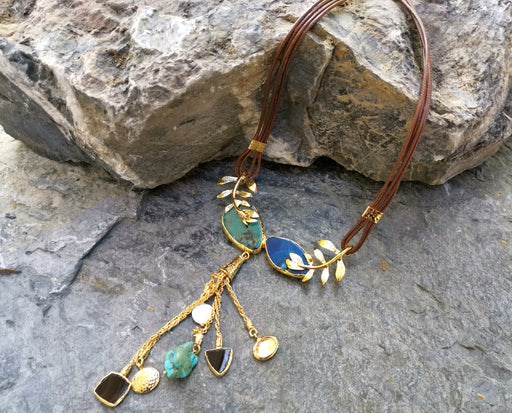 Gold Plated Brass Necklace with Green, Blue and Brown Gemstones  SR23