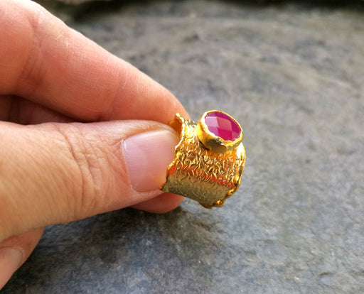Gold Plated Brass Ring with Pink Gemstone Adjustable SR26
