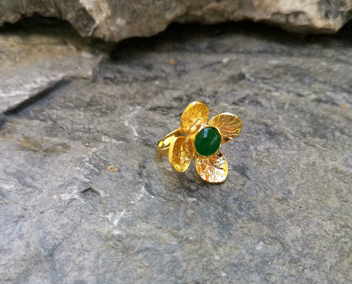 Gold Plated Brass Ring with Green Gemstone Adjustable SR27