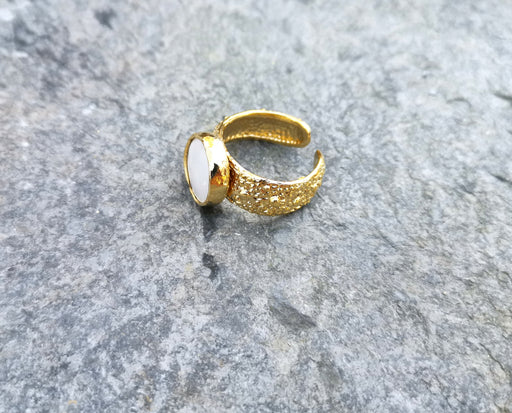 Gold Plated Brass Ring with Real Pearl Adjustable SR28