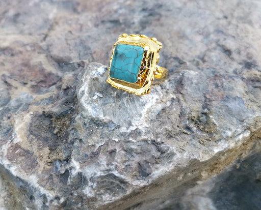 Gold Plated Brass Ring with Turquoise Gemstone Adjustable SR31