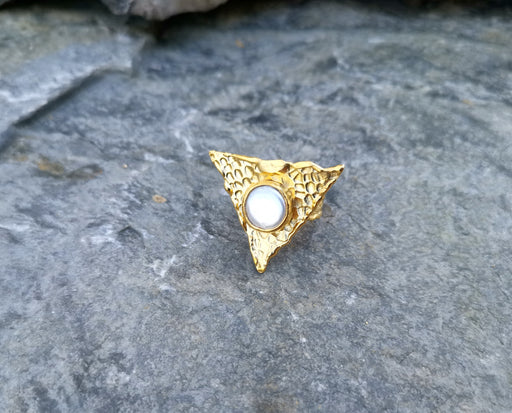 Gold Plated Brass Ring with Real Pearl Adjustable SR32