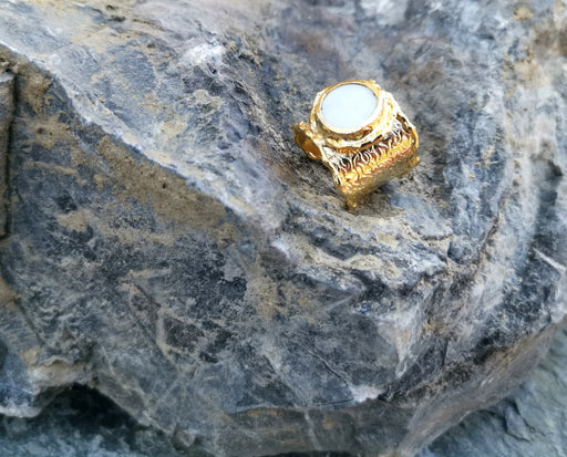 Gold Plated Brass Ring with Real Pearl Adjustable SR33