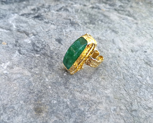 Gold Plated Brass Ring with Green Gemstones Adjustable SR34
