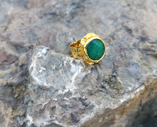 Gold Plated Brass Ring with Green Gemstones Adjustable SR35