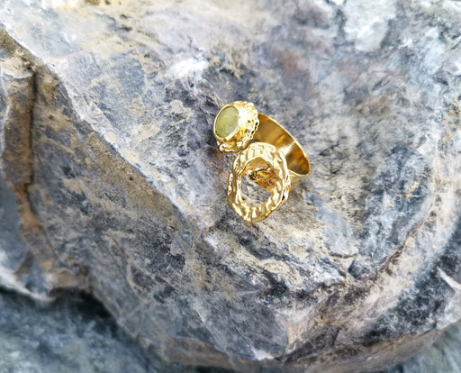 Gold Plated Brass Ring with Yellow Gemstones Adjustable SR36
