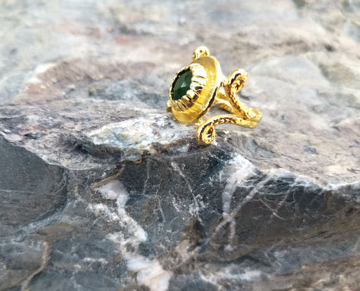Gold Plated Brass Ring with Dark Green Gemstones Adjustable SR38