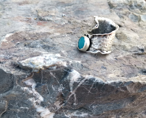 Antique Silver Plated Brass Ring with Turquoise Gemstones Adjustable SR39
