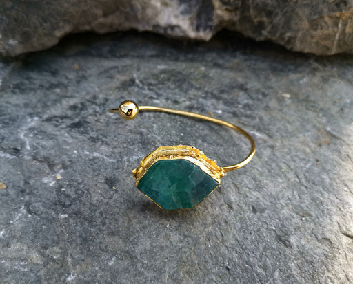Bracelet with Green Agate Gemstone Gold Plated Brass Adjustable SR46