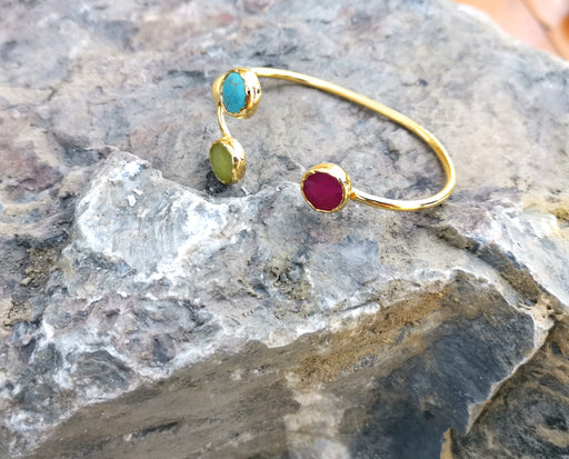 Bracelet with Colored Gemstones Gold Plated Brass Adjustable SR50