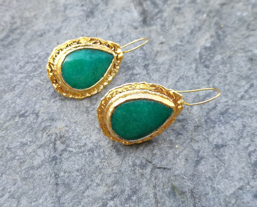 Earrings with Green Stones Gold Plated Brass  SR260