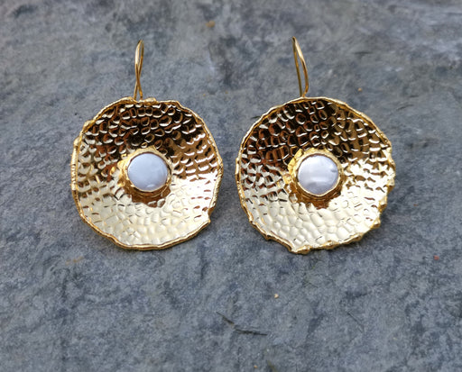 Earrings with Real Pearls Gold Plated Brass  SR261