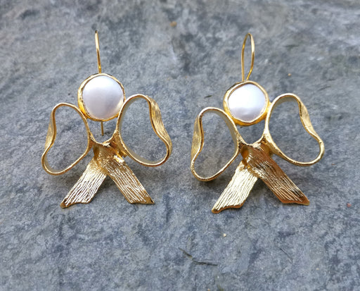 Earrings with Real Pearls Gold Plated Brass  SR262