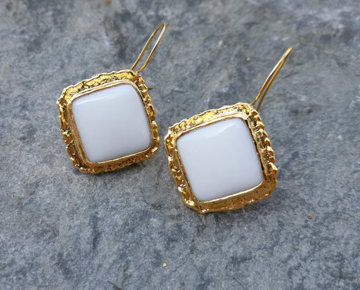 Earrings with White Stones Gold Plated Brass SR263