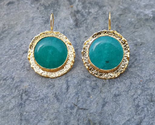 Earrings with Green Stones Gold Plated Brass SR264