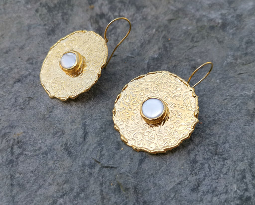Earrings with Real Pearls Gold Plated Brass SR265