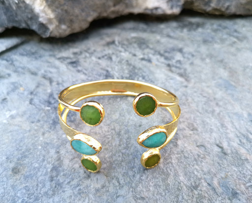 Gold Plated Brass Bracelet with Green and Turquoise Gemstones Adjustable SR5