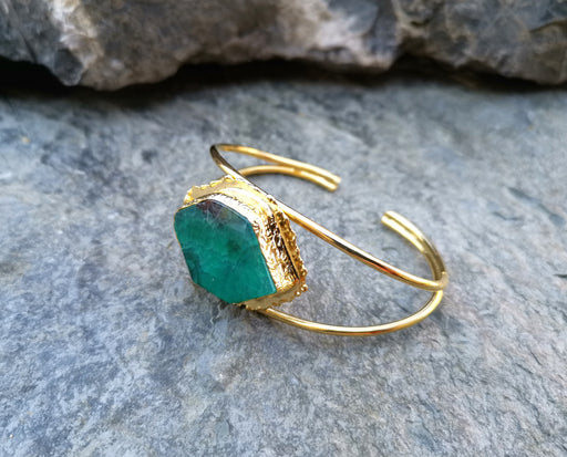 Gold Plated Brass Bracelet with Green Agate Adjustable SR6
