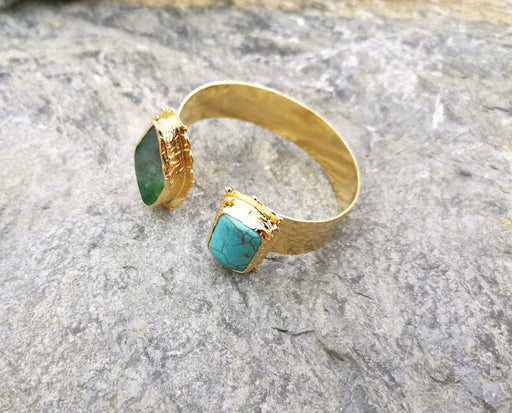 Bracelet with Turquoise and Green Agate Gemstones Gold Plated Brass Adjustable SR64