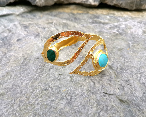 Bracelet with Green and Turquoise Gemstones Gold Plated Brass Adjustable SR68