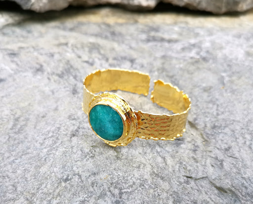 Bracelet with Wather Green Gemstone Gold Plated Brass Adjustable SR70