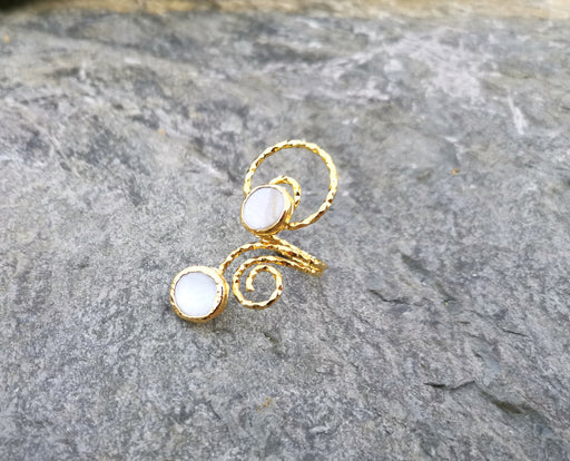 Spiral Ring with Real Pearls Gold Plated Brass Adjustable SR83