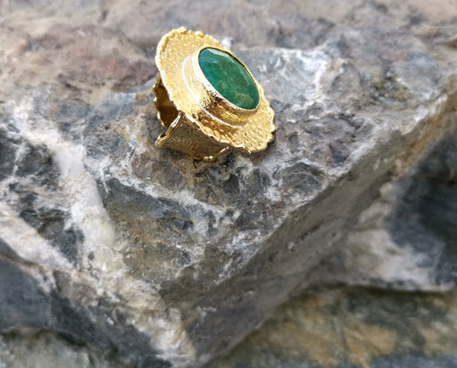 Ring with Green Agate Gemstone Gold Plated Brass Adjustable SR85